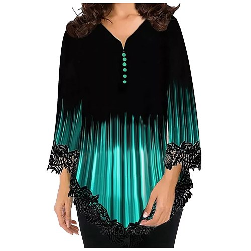 Lace Long Sleeve Women Blouse 2021 V Neck Casual Blouses Women Shirts Summer Casual Plus Size Tops Ladies Tunic Блузка Женская