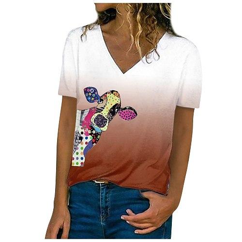 Casual V Neck Blouses Women 2021 Summer Gradient Horse Head Pattern Blouse Women Shirts Plus Size Tops Tunique Femme Shirt
