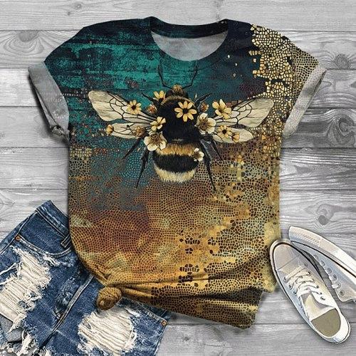 3d Animal O-neck Bee Print Shirt Top Ladies Harajuku Casual Shirt Ladies Plus Size Short Sleeve Summer Shirt 2021 Manteau