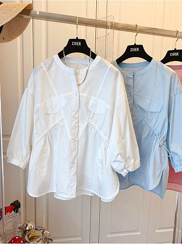 Casual Folds Drawstring Cotton Blouses Chic Short-sleeve Shirt Solid Color Blue Women White Shirts Female 2021 Summer Tops Blusa