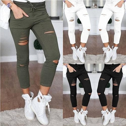 2021 Cargo Pants Women Fashion Slim High Waisted Stretchy Skinny Broken Hole Pencil Pants Solid Color Streetwear Trousers Womens