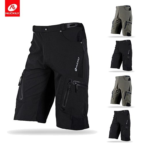 NUCKILY Casual Men MTB Shorts Loose Fit for Running Bicycle Cycling Shorts Ciclismo Breathable Outdoor Motocross Bike Short Pant