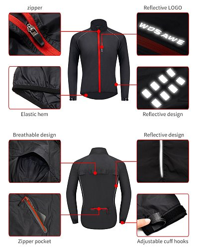 WOSAWE High Visibility Cycling Jackets Men Breathable Windproof Refective Rain Water Resistance Sports Bike Bicycle Windbreaker