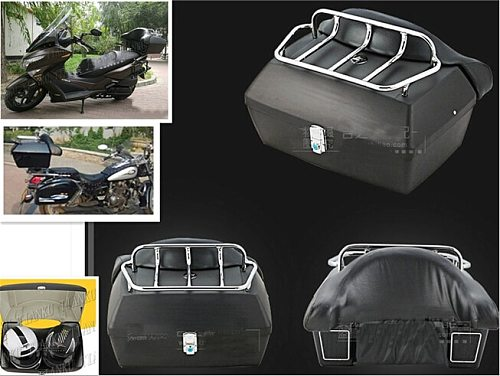 Matte black Trunk Tail Box Luggage With Top Rack Backrest For Kawasaki Vulcan Classic VN 400 VN500 VN800 VN 900 1200 1500 1600