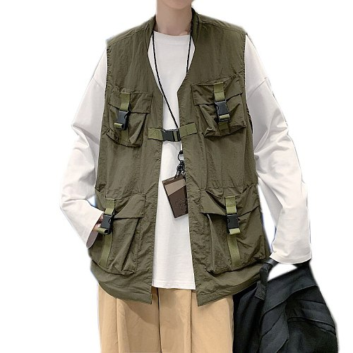 2021 Mens Fashion  Outdoors Tactical Coat Cargo Vest Hip Hop Men Sleeveless Jacket Coat Gilet Men's Vest