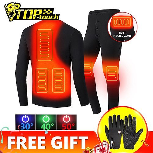 New Heated Motorcycle Jacket Men Women Heated Thermal Underwear Set USB Electric Suit Thermal Clothing for Winter S-5XL