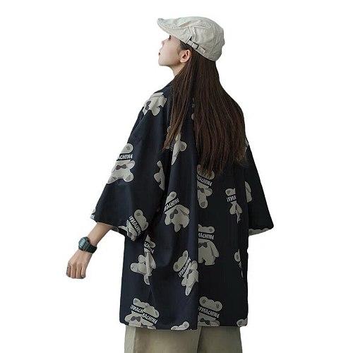 MINGLIUSILI Vintage Shirts for Women Summer 2021 Fashion Bear Print Harajuku Shirt Short Sleeve Loose Black Top Women Clothing