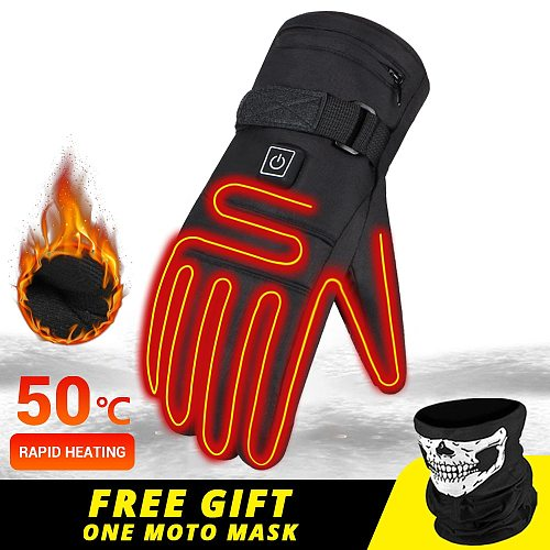 Winter Motorcycle Gloves Water-resistant Heated Gloves Motorbike Racing Riding Gloves Touch Screen Battery Powered Guantes Moto