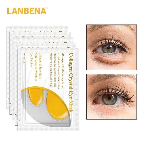 LANBENA 24K Gold Eye Mask Collagen Eye Patches Dark Circle Puffiness Eye Bag Anti-Aging Wrinkle Firming Skin Care 10PCS=5 Pairs