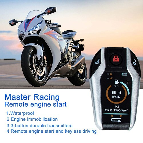 Two-way Motorcycle Anti-theft Alarm System Master Racing Remote Engine Start For Honda/Suzuki/Kawasaki/Yamaha Locating