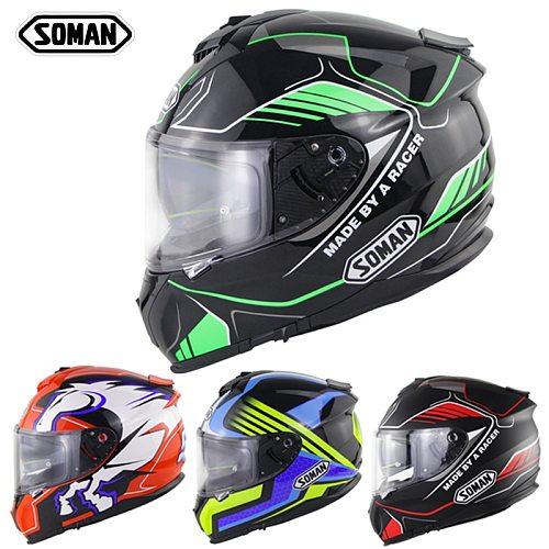 SOMAN Casco Moto Motorcycle Motorbike Helmets Full Face Double Visor ECE DOT Modular Moto Certification Racing Motocross Helmet