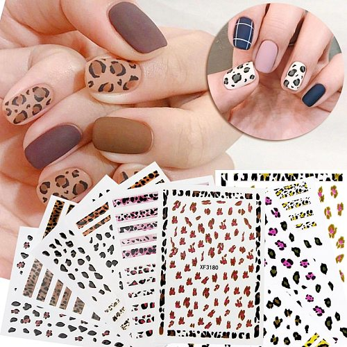 Cute Leopard Nail Stickers Self Adhesive Decoration Decals Tips Manicure Tiger Nail Art Decals Leopard Print Stickers For Girls