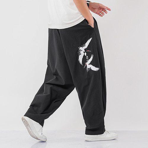 Embroidery Men Wied Leg Pants Harajuku Style Jogging Pants Mens 2020 Autumn Loose Trousers Male Fashion Oversize Sweatpants 5XL