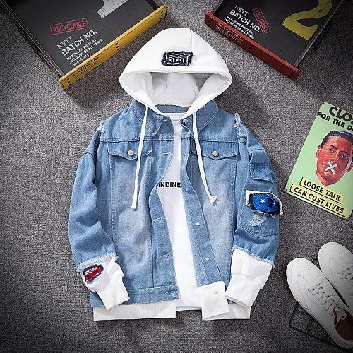 Denim Jacket Mens Hooded Slim Fit Casual Streetwear Jean Jackets Long Sleeve Trendy Outerwear Autumn Winter Jacket Coat for Men