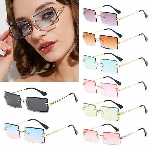 2020 Trendy Men Women Summer Rimless Sunglasses Fashion Small Rectangle Sun Glasses Traveling Style UV400 Shades Eyewear