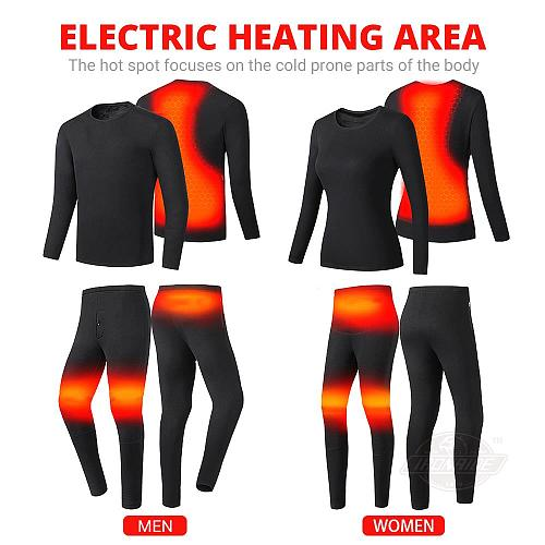 Motorcycle Jacket Heated Men Women Winter Heated Thermal Underwear Set USB Electric Suit Thermal Clothing for Winter S-5XL