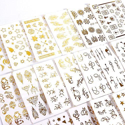 20pcs Water Decals Gold Stickers Nails Galaxy Stars Flower Vine Geometry Animal Tiger Flamingo Watermark Adhesive Sliders BEYY20