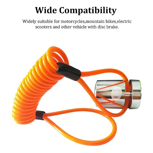 Motorcycle Disc Lock  Bike Lock Wheel Disc Brake With Reminder Spring Cable Motorcycle Security Anti Thief Moto Accessories
