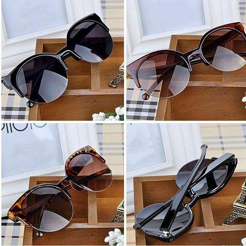 Retro Vintage Cat Eye Sunglasses Half Frame Sunglasses Women Sun Glasses Anti-UV Sunglasses Female Travel Party Glasses