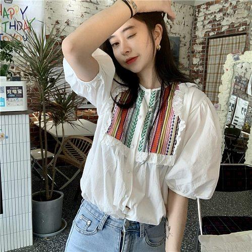 KUSAHIKI Korean Chic Embroideried Blouse Tops Causal Ruffle O-neck Puff Sleeve Shirt 2021 Spring Summer New Blusas Mujer 6G785