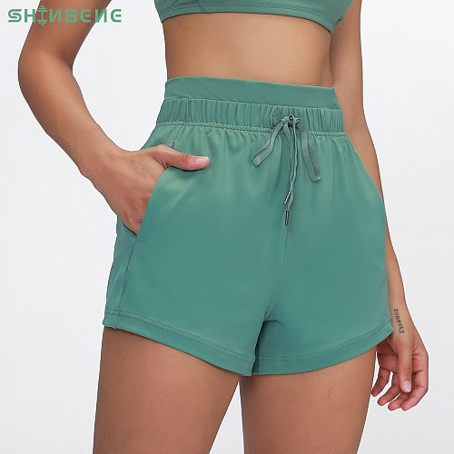 SHINBENE ESSENTIAL Drawstring Fitness Gym Linerless Shorts Women Soft Cotton Feel High Rise Workout Sport Shorts with Pocket 3