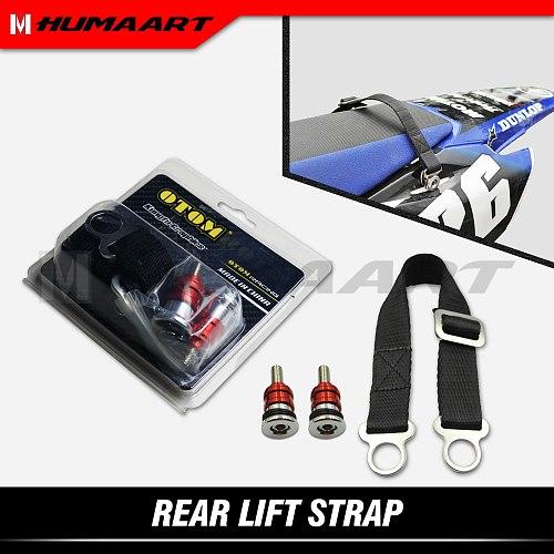 HUMAART Rear Strap Steel Buckle Belt Sling for Dirt Bike CRF YZF YZFX WR RMZ Off-road MX Enduro, Red