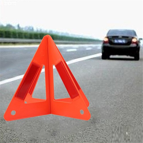 Red Car Breakdown Warning Triangle Emergency Reflective Safety Hazard Sign Cars Tripod Folded Stop Sign Warning Sign