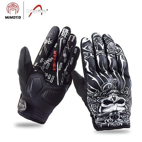 VEMAR Motorbike Gloves Men Touch Screen Shockproof Motorcycle Gloves Suomy Summer Motocross Racing Gloves Retro Black S-XXL