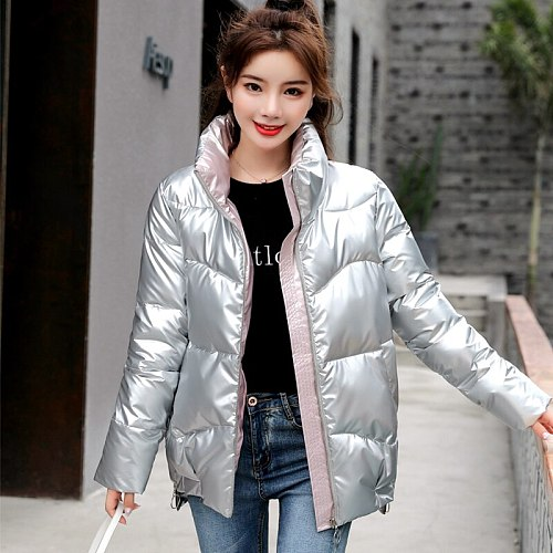New Winter Jacket Women High Quality stand-callor Coat Fashion Jackets Hiking Climbing Sport Clothing Casual Parkas Silver
