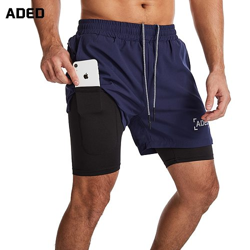 ADED NEW Running Shorts Men 2 In 1 Double-deck Quick Dry GYM Sport Shorts Fitness Jogging Workout Shorts Men Sports Short Pants