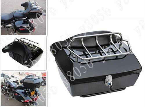 Motorcycle Trunk Tail Box Luggage With Top Rack Backrest For Fit Sportster XL883 Dyna Wide Glide Bobber Road Kings