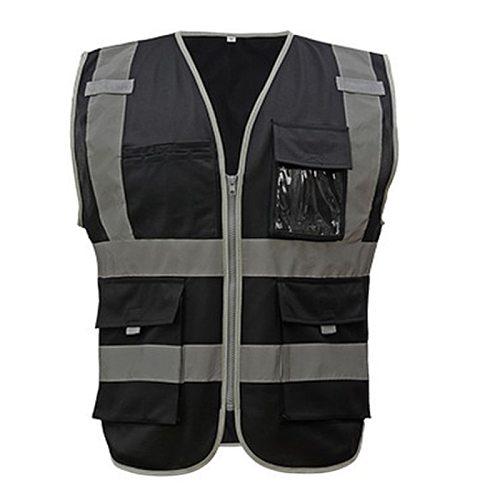 Workshop Vest Safety Night Reflective Vest Logo Custom hi vis Workwear Jacket Black Vest Women Men Waistcoat Vest Working Cloth