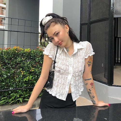 women Solid shirt tops new women summer ins Sweet wind Lace Polo tops women Casual slim Turn-down Collar xk2-40