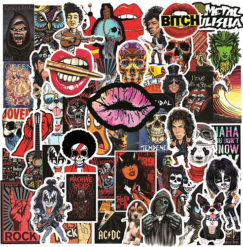 10/30/50Pcs Horror Rock and Roll Stickers Punk Graffiti Pegatinas JDM Guitar Motorcycle Laptop Luggage Skateboard Decal Sticker