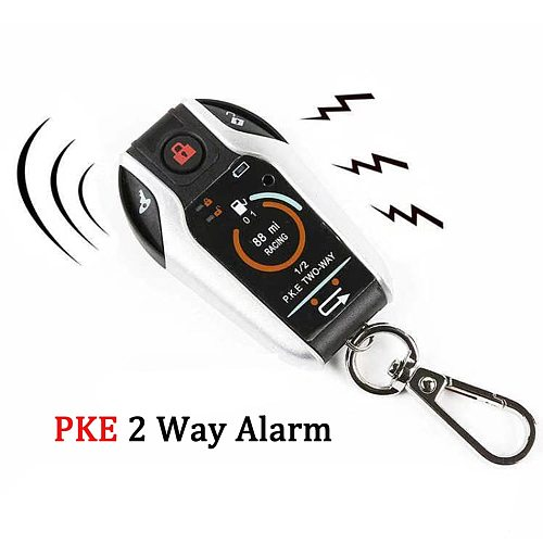 PKE 2 Two Way Motorcycle Anti-theft Alarm System Remote Engine Start Moto Scooter PKE Sensing Alarm Theft Protection Universal