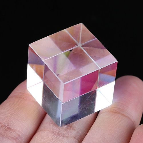 Colorful Combiner Splitter Cross Dichroic Cube RGB Prism  Optical Glass Triangular Prism for Teaching Light Spectrum Physics