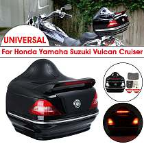 28L Black Motorcycle Trunk W/Lock Motocross Top box Rear Storage Luggage Helmet Topbox Case w/Tail Brake Turn Signal Lamps