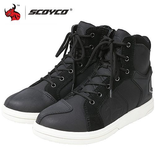 SCOYCO Motorcycle Boots Men Waterproof Microfiber Leather Moto Motocross Riding Boots Breathable Motorbike Shoes Casual Shoes