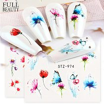 1pcs Butterfly Nail Art Slider Gradient Flower Stickers on Nails Water Decals Cute Cat Foils Manicure Accessories CHSTZ970-993