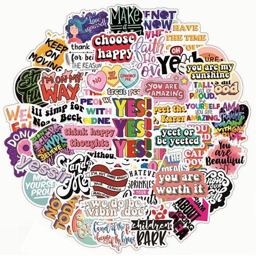 10/50pcs Colorful Motivational Phrases Stickers Kid Inspiring Positive Sticker DIY Laptop Study Room Scrapbooking Graffiti Decal