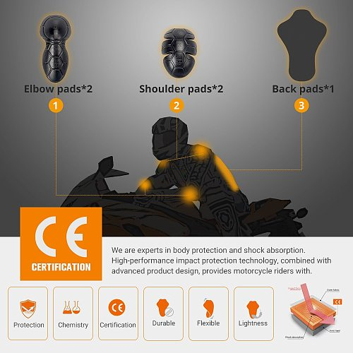 DUAHN Motorcycle Protective Gear Motocross CE Protector Knee Pad Motorbike Body Armor Motorcycle Biker Equipment