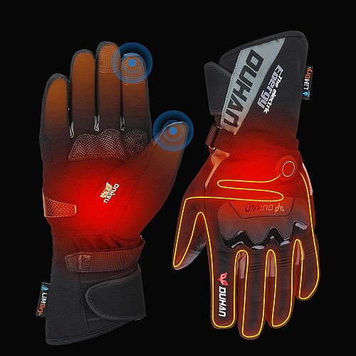 Motorcycle Heated Gloves Touch Screen Winter Warm Skiing Gloves Waterproof Rechargeable Heating Thermal Gloves For Snowmobile