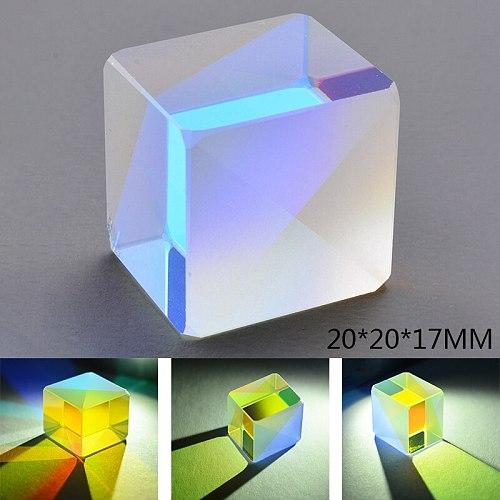 Cube Prism 20x20mm Defective Cross Dichroic Mirror Combiner Splitter Decor Transparent Module Optical Glass Toy Teaching Tools