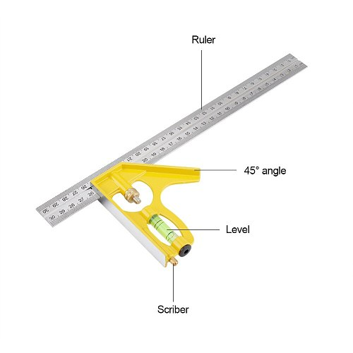 Right Angle Ruler Square 300mm Multi-functional Adjustable Combination Square Right Angle Ruler Engineer Measuring Tool - Yellow