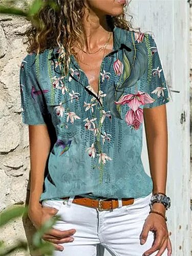Elegant short-sleeved women shirt loose shirt women plus size casual top