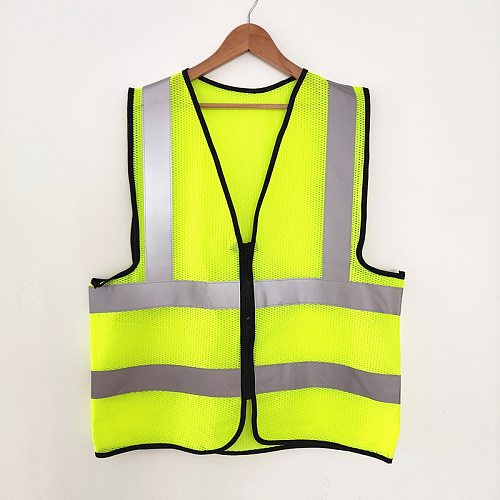 50 Pieces High Visibility Reflective Vest Jacket Strip Mesh Fabric Construction Security Safety Vest Clothing