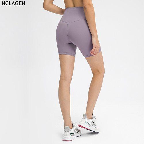 NCLAGEN 2021 Spring Summer Solid Sport Color Yoga Shorts Gym Training Workout Running Solid Color No Camel Toe Fitness Leggings