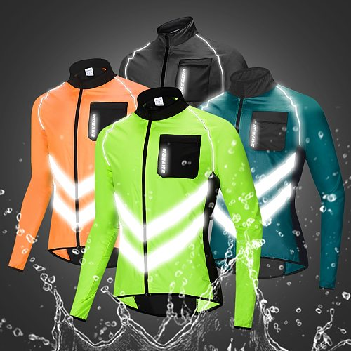 WOSAWE Men's Cycling Jacket High Visibility MultiFunction Jersey Road MTB Bike Bicycle Windproof Quick Dry Rain Coat Windbreaker