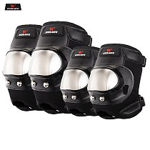 WOSAWE Motorcycle Knee Elbow Pads Stainless Steel Anti-Fall Riding Protective Gear Motocross Moto-Racing Protector Scooter