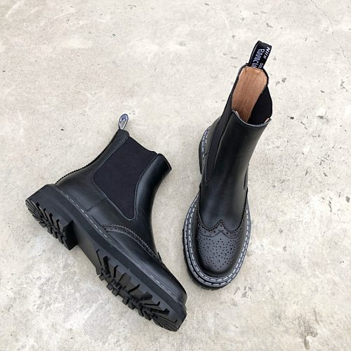 Winter Women Boots Round Toe Comfortable Low-Heel Boots for Women Platform Genuine Leather Brock Black/Red Motorcycle Boots